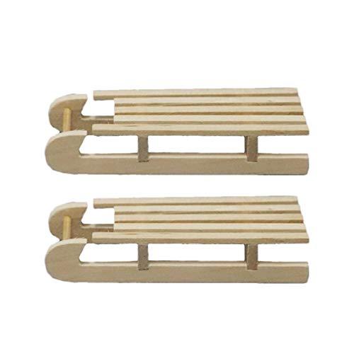 Artibetter Mini trineo de madera casa de muñecas trineo ornamental escena navideña modelo accesorios 2pcs