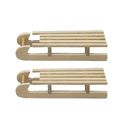 Artibetter Mini trineo de madera casa de muñecas trineo orn