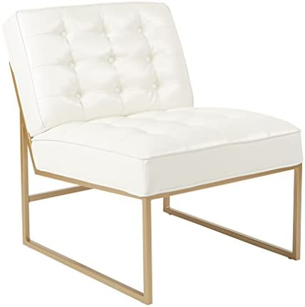 Best OSP Home Furnishings Anthony Armless Accent Chair, White Faux Leather with Gold Base
