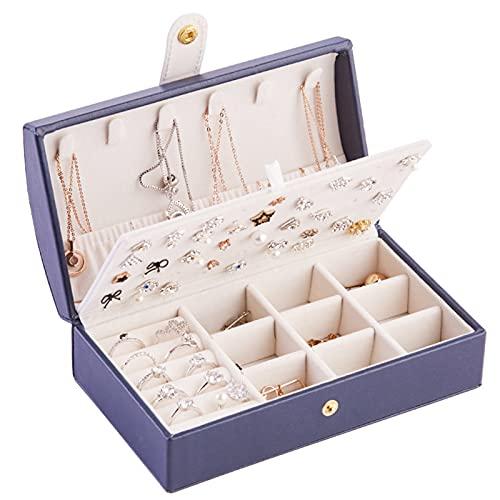 Caja de joyería Caja de Almacenamiento de PU portátil Exhibición Soporte de joyería Collar Caja de Almacenamiento de Reloj con Tapa Divisor extraíble para Mujeres niñas