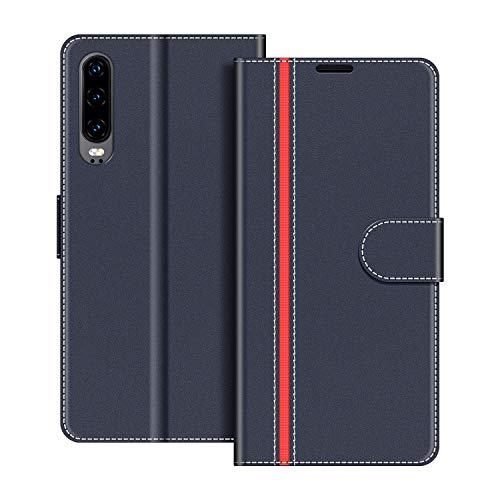 COODIO Handyhülle für Huawei P30 Handy Hülle, Huawei P30 Hülle Leder Handytasche für Huawei P30 Klapphülle Tasche, Dunkel Blau/Rot