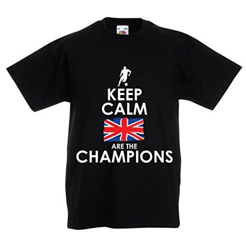 N4507K La Camiseta de los niños North Irish Are The Champions ! (5-6 Years Negro Multicolor)