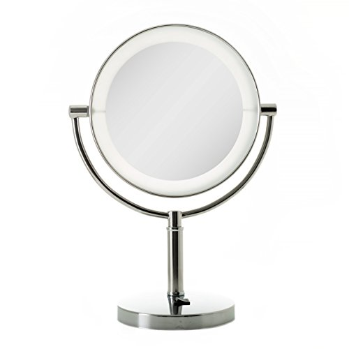 Zadro LED Lighted Dual-Sided 10X/1X Magnification Vanity Beauty Makeup Mirror, -