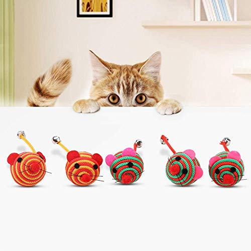 HEEPDD Maus Katzen Spielzeug, 5 Teile/Satz Haustier Bunte Nylon Seil Runde Ball Maus mit Langen Schwanz Glocke Katze Kauen Training Spaß Spielen Spielzeug (Zufällige Farbe)