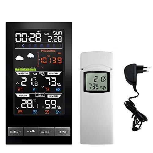 SanyaoDU Funkwetterstation Digital Wettervorhersage mit 2 Außensensoren Temperatur-Feuchtigkeits-Display-Barometer-Thermometer