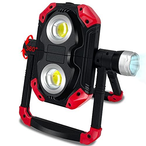 HSicily LED Baustrahler Akku, 360 °...