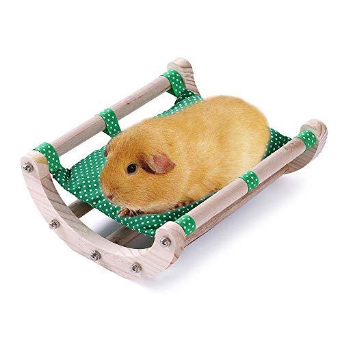 JanYoo Meerschweinchen-Bett, Igelhaus-Pad, Kaninchen-Bett, Spielzeug, Käfigzubehör, Stuhl, Shaker, abnehmbarer Holzrahmen (dunkelgrün)