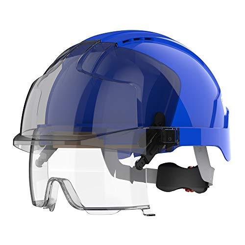 EVO® VISTAlens™ Casco de seguridad con gafas de seguridad integradas - Azul/Humo (JSP AMB170-007-F00)