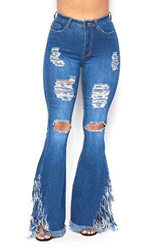 SOHO GLAM Pantalones vaqueros de cintura alta elásticos con parte inferior de campana elástica para mujer S-3XL, Mezclilla mediana envejecida., M