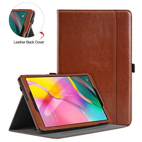 ZtotopCase Hülle für Samsung Galaxy Tab A 10,1 2019, für Modell SM-T510/SM-T515, Premium Leder Geschäftshülle mit Ständer, Kartensteckplatz und Mehrfachwinkel, Braun
