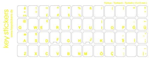 Keystickers® | Türkische Aufkleber für PC/Laptop & Notebook Tastaturen 11x13mm, transparent mit mattem Schutzlack, Farbe GELB | Klavye için Türk harfleri | Turkish Keyboard Stickers