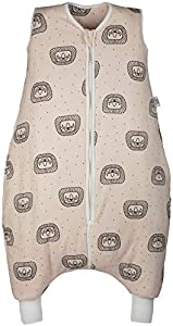 Hosenmax Saco de Dormir de Bebé con Piernas – Saco de Bebé de Algodón Orgánico - Resistencia Térmica TOG 2.5 - Saco de Dormir para Todo el Año - Querido León (Verspielter Löwe) Talla 100cm