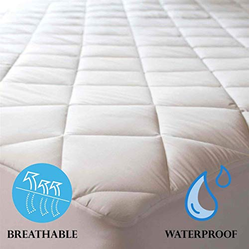 Niagara Sleep Solution 100% Cotton Waterproof Quilted Mattress Protector Cot Bed Size 33x75 Inches Deep Pocket Breathable Absorbent Mattress Pad Cover Non Noisy