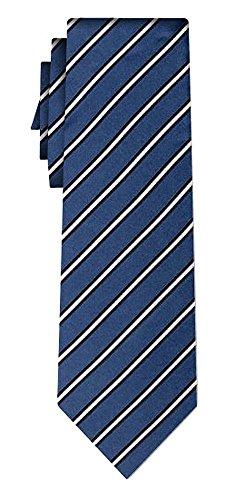 Cravate soie rayée fine white stripe on steel blue