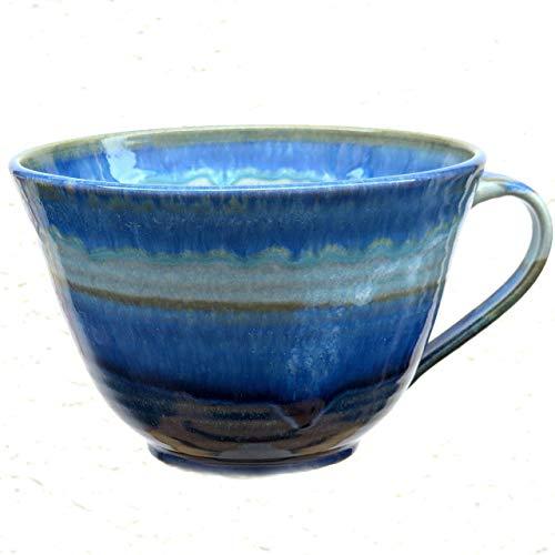Tasse, Wohlfühl-Tasse, blau-hellblau, Müsli-Tasse, handgetöpfert, Höhe ca. 9,5 cm, Inhalt ca. 0,5 l Steinzeug