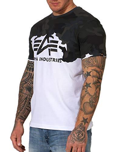 ALPHA INDUSTRIES Herren T-Shirt Lost Camo T (XXL, Black Camo)