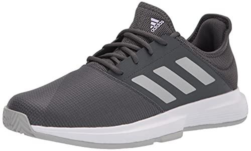 adidas Women's Gamecourt Tennis Shoe, Grey/Silver Metallic/Purple Tint, 8.5