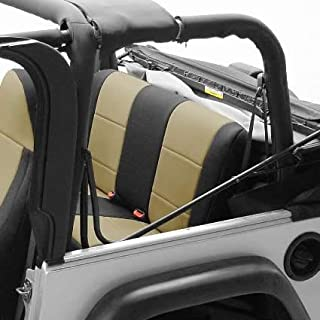 Coverking Custom Fit Seat Cover for Jeep Wrangler JK 4-Door - (Neoprene, Black/Tan)