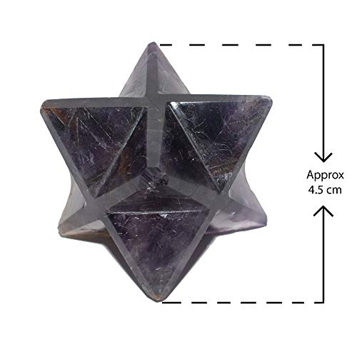 Arva 7-Chakra Star Merkaba Crystal Quartz for Reiki Spiritual Energy Healing | Crystal Therapy | 45mm Large Size Merkaba | 4.5cm | 1.7 Inches Size from Tip to Tip (Amethyst)
