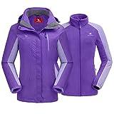 CAMEL CROWN Women's Ski Jacket Waterproof 3 in 1 Winter Jacket Windproof Warm Fleece Hooded...