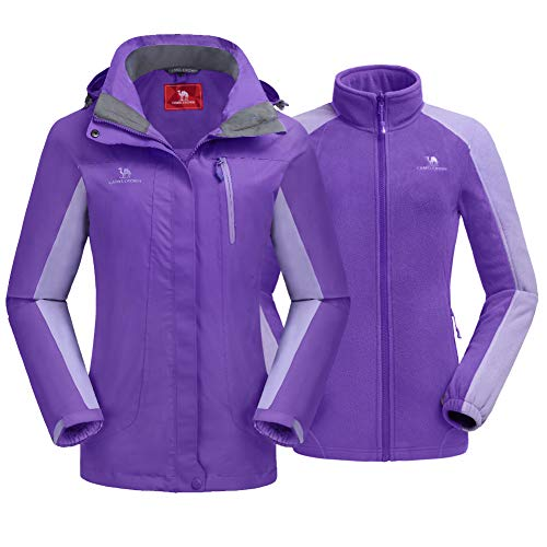 CAMEL CROWN Women's Ski Jacket Waterproof 3 in 1 Winter Jacket Windproof Warm Fleece Hooded Snowboard Mountain Snow Coat