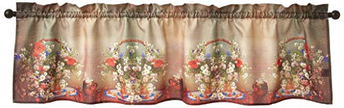 """Violet Linen Heritage Floral, Polyester, Super Soft Feel Faux Suede Fabric, Digital Print Decorative Window Treatment Rod Pocket Curtain Valance, 60"""" X 18"""", Mixed Daisy Basket Design"""