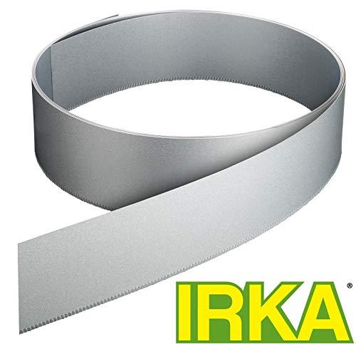 IRKA Rasenkantenband Alu/Zink Metall 25 cm hoch Rasenkante mit Versteifungskante Beeteinfassung 10 Meter