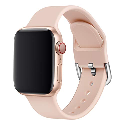 Correa Straps Compatible Apple Watch Series 5 4 3 2 1 38/40mm 42/44mm Suave Silicona Reemplazable Lavable Transpirable Caramelo Color Correa para iWatch Mujer Hombre