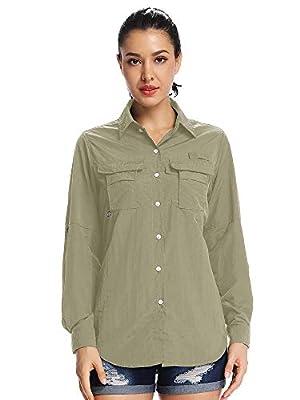 Women's UPF 50+ UV Sun Protection Safari Shirt, Long Sleeve Outdoor Cool Quick Dry Fishing Hiking Gardening Shirts (5055 Khaki L)