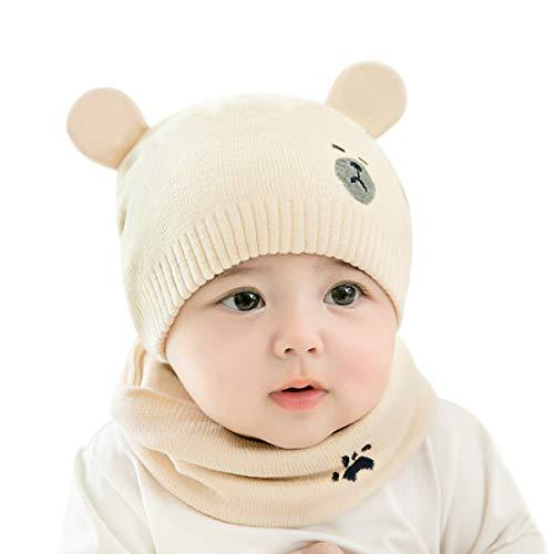 DORRISO Linda Bebe Pequeña Oso Gorro con Bufanda Otoño Invierno Primavera Calentar Sombrero de Niño Adecuado para Bebé de 0-3 Años Beige