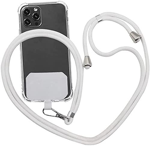 Correa universal para teléfono móvil, con cordón ajustable de nailon y parches, compatible con todos los smartphones, color blanco