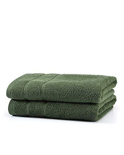myHomery Handtuch Set bestehend aus Gästehandtücher, Duschtuch, Saunatuch und Badetuch - Saunahandtuch XXL - Handtücher Moosgrün   2er-Set Duschtuch