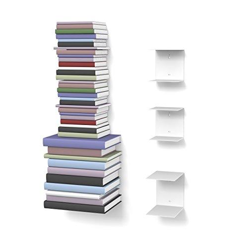 home3000 Unsichtbares Bücherregal 2-1 Set variabel mit 6 Fächern für kleine und große Bücher in Weiss für ca. 150 cm hohen Bücherstapel