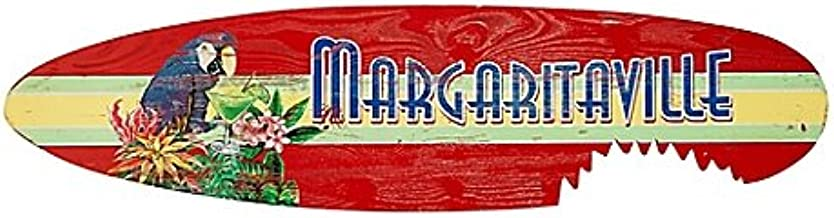 Margaritaville Wall Art Shark Bite Surfboard Crafted of Pine Wood in Red