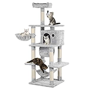YAHEETECH 69.5 inches Stable Cat Tree with Freely Rotating Tunnel, Padded Platform with Replaceable Dangling Balls…