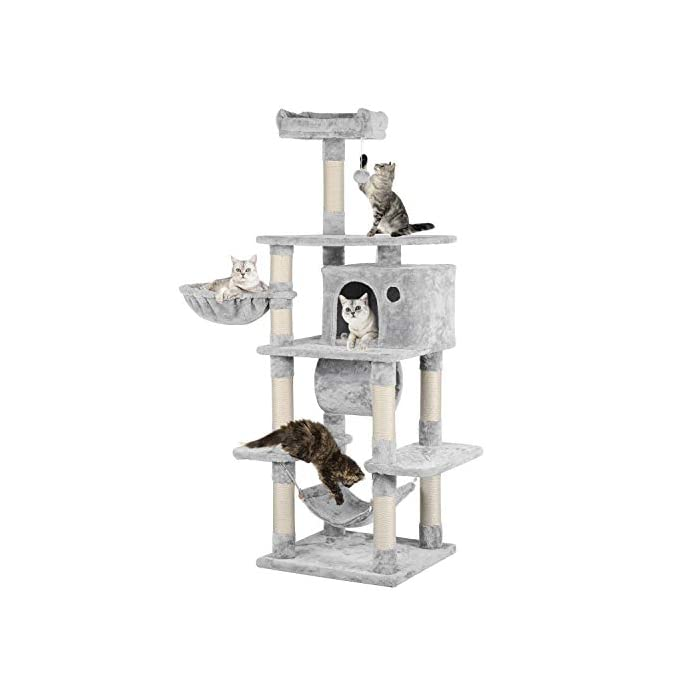 Cat Tree YAHEETECH 69.5 inches Stable Cat Tree with Freely Rotating Tunnel, Padded Platform with Replaceable Dangling Balls, Hammock Basket and Condo, Cat Tower Furniture-for Kittens, Cats and Pets