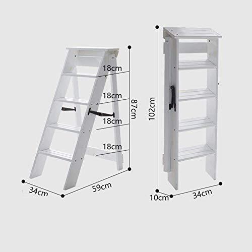 GOG Taburete, escalera plegable Taburetes Escaleras Renovación interior multifunción Escalera de carga de 5 escalones Escaleras de madera maciza para taburetes,A
