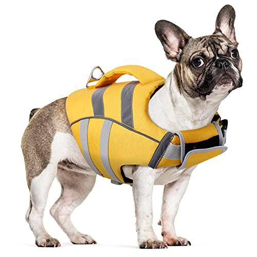 Chaleco salvavidas para perros, chaleco salvavidas flotante, abrigo ajustable, con asa para nadar, surf, navegar.