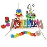 Tubayia Xilófono + oruga Twist + torre apilable + lazo motricidad para niños juguete pedagógico