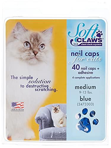 Soft Claws Kit de Protège-Griffes SoftClaws pour Chats Adultes Bleu - MEDIUM