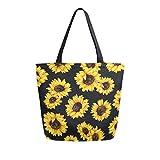 Naanle Sunflower Canvas Tote Bag Large Women Casual Shoulder Bag Handbag, Watercolor Sunflower...