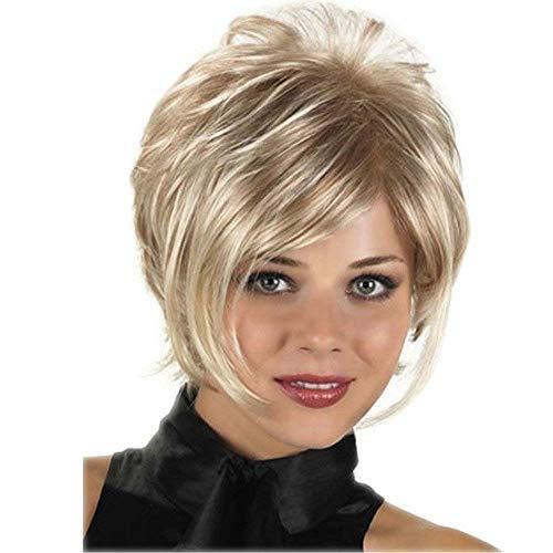 WIGSUEG Blonde Pixie Perruque Courte Perruque Perruques Synthétiques pour Les Femmes - Résistant À La Chaleur Fibre Fashion Party Pleine Perruque avec Une Frange + Perruque Cap,A
