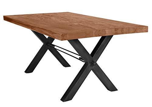 Sit Möbel Tische Tisch 220x100 cm, Balkeneiche natur Platte Balkeneiche, Gestell Eisen B 220 x T 100 x H 78 cm Platte natur, Gestell antikschwarz bestehend aus 7152-01 + 7113-11, Plattenstärke 6 cm