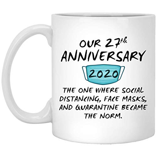 Happy 27Th Anniversary Mug Quarantine Couple Spouse For Him Her Husband Wife Wedding Gift 11oz