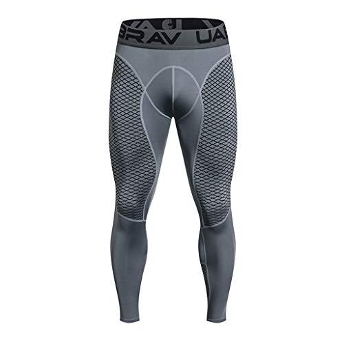 Pantalon de Compression Homme - Sunenjoy Legging de Sport Pantalon Collant pour Fitness Course Professionnelle Tout au Long de la Saison Thermique Pantalon (XL, Gris)