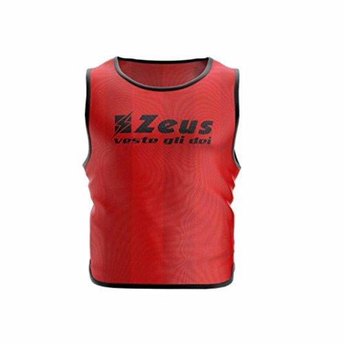 Zeus 10 Pezzi Casacca Promo Pettorina Allenamento Ginnastica Training Corsa Fitness Palestra Calcio Calcetto (Confezione 10 Pezzi) (Senior, Rosso)
