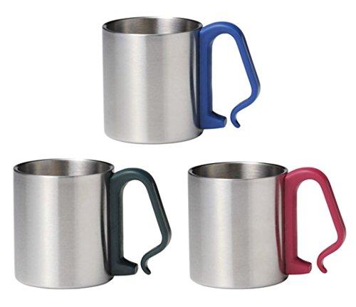 ステンレスマグカップ 3個セット(ブルー レッド グリーン)持ち手がカラビナ形状 リュックやロープに付けられます ステンマグ アウトドア 登山 キャンプ