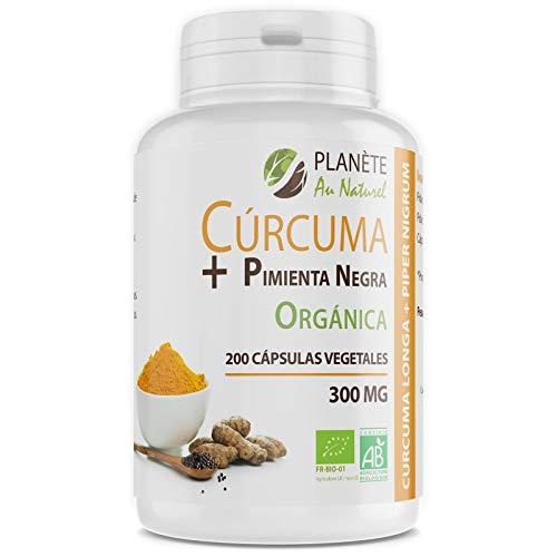 Cúrcuma + Pimienta Negra Orgánica - 300mg - 200 cápsulas vegetales