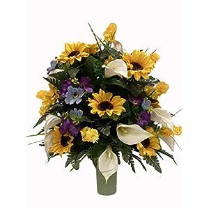 C722 Cemetery Flower Arrangement, Headstone Vase Arrangement, Grave, Tombstone Arrangement, Cemetery Flowers, Vase Arrangement, Cone Insert Arrangement