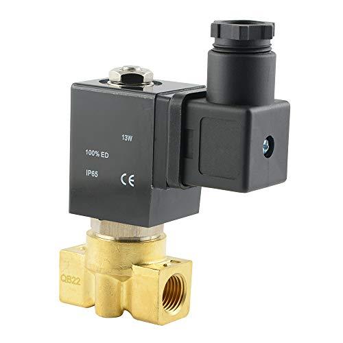 Magnetventil Stromlos geschlossen für Druckluft, Wasser und neutrale dünnflüssige Medien - aus Messing (Spannung: 12 V=, G 1/4